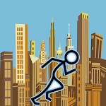 City StickMan Runner Icon