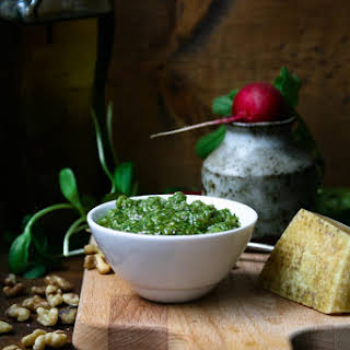 Small Batch Radish Leaf + Basil Pesto.