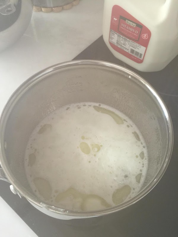 "Combine milk, shortening sugar and bring to low boil ""scald"". Stir."
