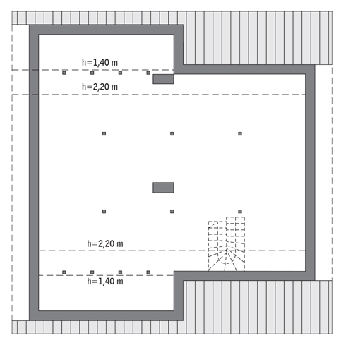 Miarodajny - wariant III - C333c - Rzut poddasza Do indywidualnej adaptacji (97,6 m2 powierzchni użytkowej)