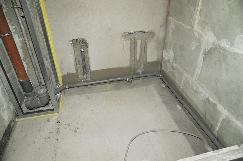 Разводка труб канализации.