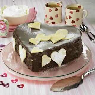 Chocolate Marzipan Heart Cake