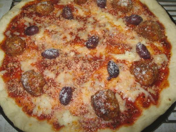 Pizza With Meatballs And Olives Recipe