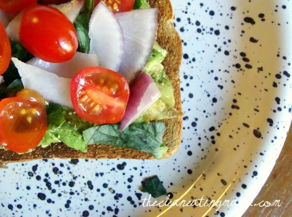 Toast bread then layer each ingredient on. Top with a sprinkle of sea salt,...