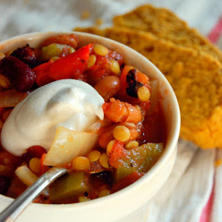 Hearty Crockpot Lentil Chili.