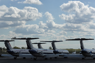 Photo: USA Jet Airlines tails parked at Willow Run Airport (YIP). Credit: Wayne County Airport Authority/Vito Palmisano.