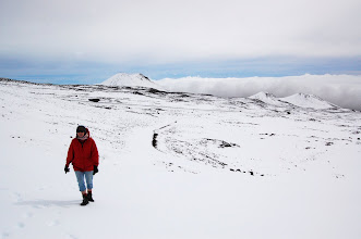 Photo: We park by the snow man and hike to Lake Waiau. At 13,000 ft. it's Hawaii's highest lake and one of the highest in the world.