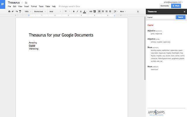 Thesaurus - Google Docs add-on
