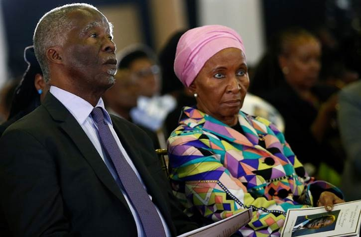 Former president Thabo Mbeki and his wife Zanele at the official memorial service for Dr Zola Skweyiya held at Tshwane Events Centre on Wednesday.
