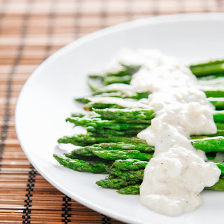 Asparagus with Cheesy Wine Sauce