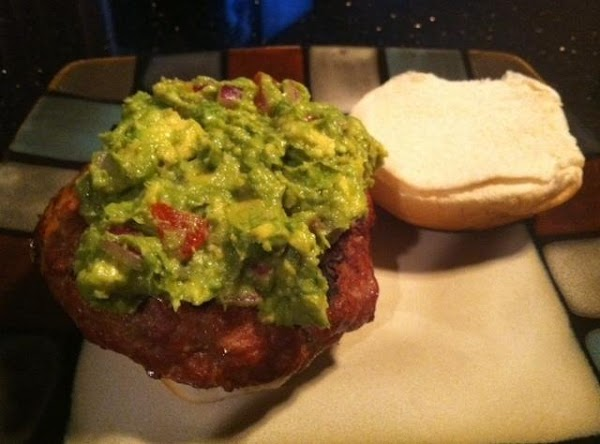 Last step place hamburger on bun n top with guacamole n......enjoy :)