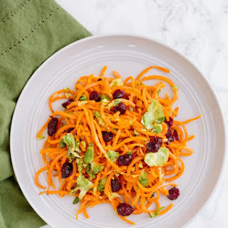 Brussels Sprouts and Butternut Squash Pasta with Parmesan and Cranberries.
