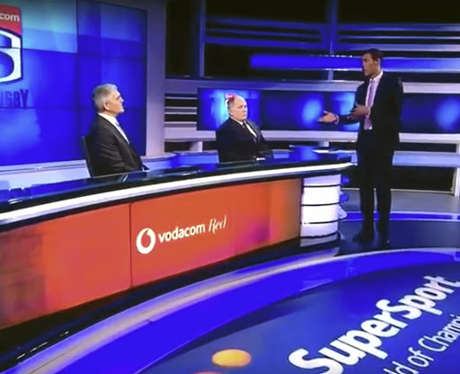 Ashwin Willemse addresses Nick Mallett and Naas Botha before walking off the SuperSport set.