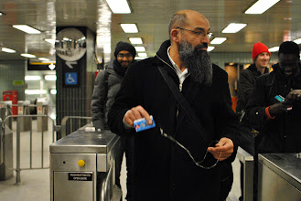 Photo: Mohammad Mahjoub preparing to use the Toronto subway system for the first time after removing his GPS anklet.