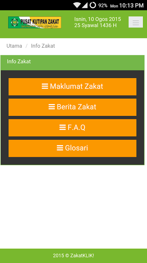 ZakatKLIK!- screenshot