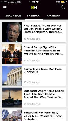 Breitbart + Drudge Report + ZeroHedge + Fox News - screenshot