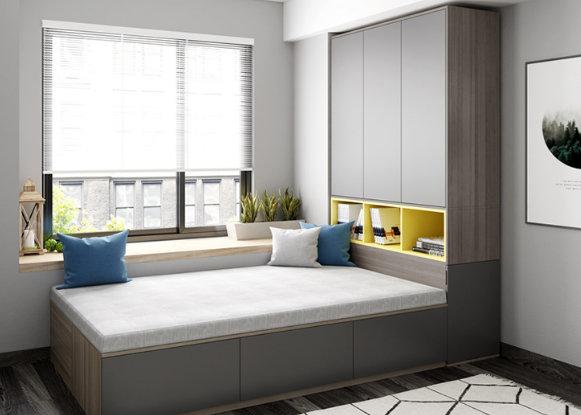 Giường có tủ quần áo khá tiện dụng