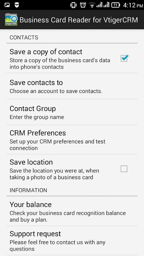 Business Card Reader Free for Vtiger CRM- screenshot