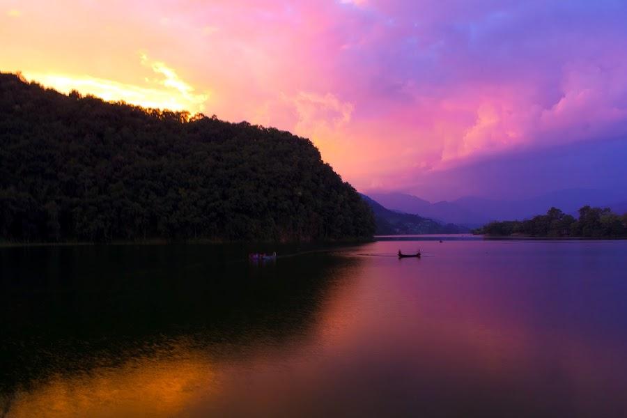 Fewa Lake by Suraj Lama - Landscapes Sunsets & Sunrises ( nature, sunset, lake, landscape, nepal )