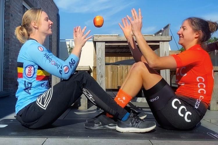 Valerie Demey en BMX'er Elke Vanhoof slaan handen in mekaar om op zoek te gaan naar vaccin tegen corona