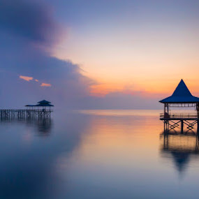 Calm by Robertho Ponomban - Landscapes Sunsets & Sunrises ( blue, beach, sunrise, jetty, landscape )