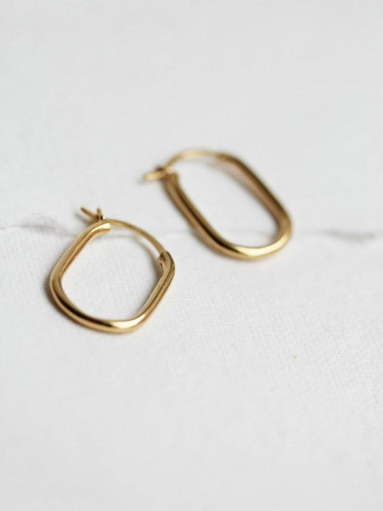 Little Gold Jewelry British Columbia Airy Hoops. Gold Vermeil Square Oval Squoval Hoop Earrings.