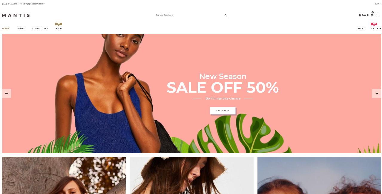 Fashion shopify theme mantis