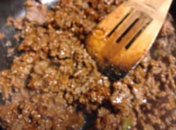 Add dry taco seasoning mix and 1/3 cup water.  Stir and turn heat...
