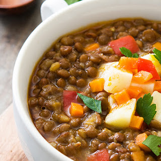 Easy Indian Curry Lentil Soup Recipe with Turmeric and Cumin.