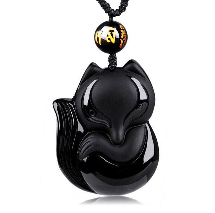 Black Obsidian Lucky Fox Necklace – Insta Buddha