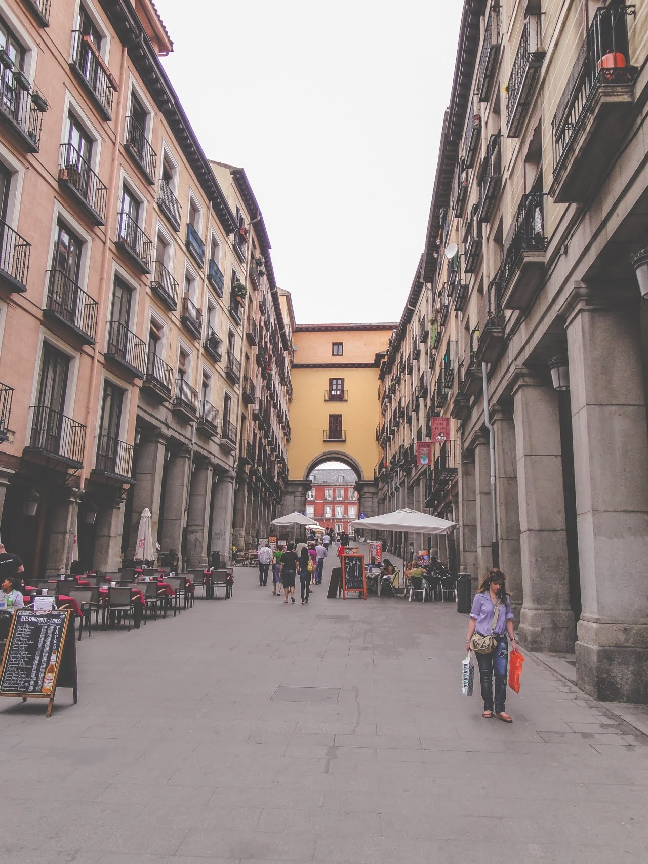 The streets around La Plaza Mayor are filled with restaurants and shops