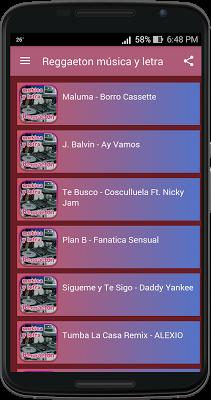 Reggaeton música y letra - screenshot