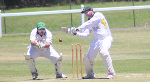 Craig Gleeson, right, was Tatts' best with bat and ball on Saturday in a huge win against RSL. Gleeson scored a match-high 56 runs and took a game-best 5-18 from nine overs. Left is RSL wicketkeeper Tyson Gilmore.