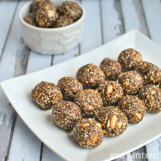 Dark Chocolate Peanut Butter Protein Bites with Toasted Quinoa.