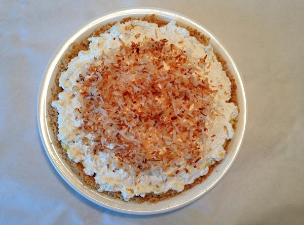 Tropical Coconut Cream Pie in Shortbread Cookie Coconut Crust Toasted Coconut Topper