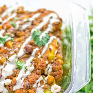 Moroccan Chickpea Lentil Potato Casserole.