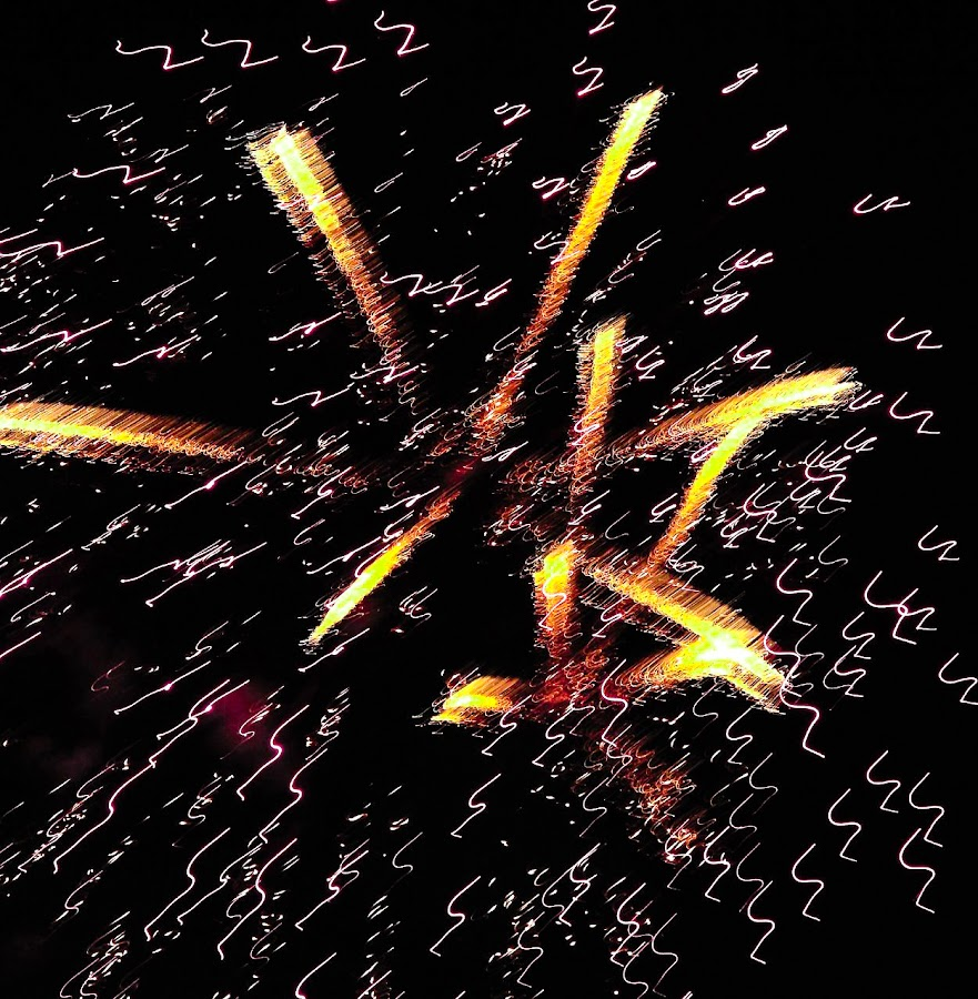 SCRIBBLES by Jennifer  Loper  - Abstract Fire & Fireworks ( red, orange, white, yellow, black, july 4, fireworks )