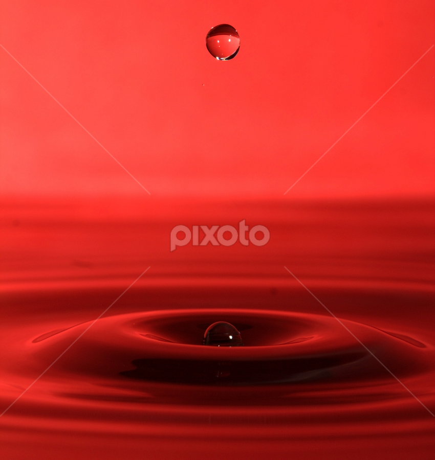 Red waterdrop by Marko Tamela - Abstract Water Drops & Splashes