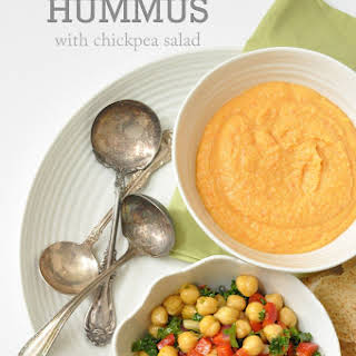Roasted Red Pepper Hummus with Chickpea Salad.