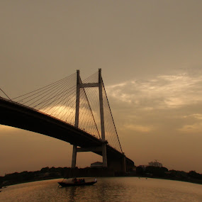 hoogly bridge by Sayan Basu - Buildings & Architecture Bridges & Suspended Structures ( sky, bridge, boat, river )
