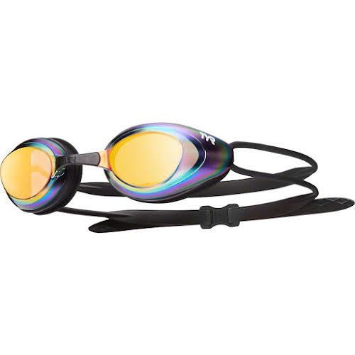 TYR Blackhawk Mirrored Goggle: Black Frame/Metal-Rainbow Lens