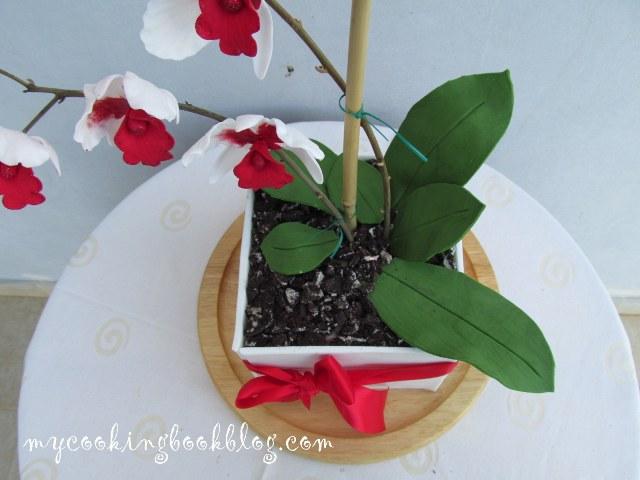 Торта саксия с орхидея