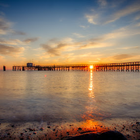 Delaware Bay by Brian Lord - Landscapes Sunsets & Sunrises ( pier, sunrise, sunset, clouds, water )