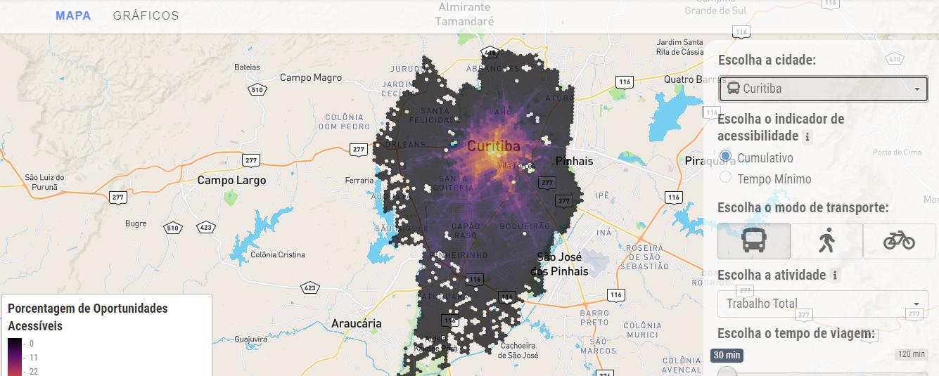 Projeto do Ipea apresenta dados sobre acessibilidade urbana nas 20 maiores cidades brasileiras, por meio de mapas e gráficos interativos. (Fonte: IPEA/Reprodução)