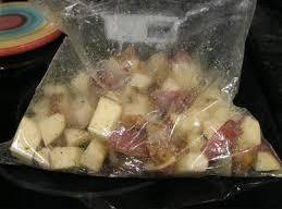 Now, take your cubed potatoes (washed of course) and place in a very large...