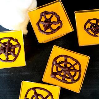 Chocolate Spider Web Jellies with Orange Juice.