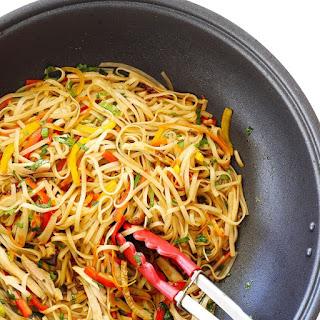 Leftover Teriyaki Chicken Stir Fry Noodles.