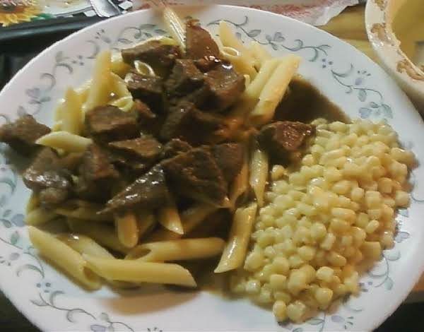 Served Over Pasta With Corn On The Side.