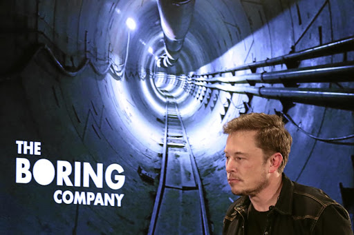 Elon Musk at a Boring Company community meeting in Los Angeles in May 2018. Picture: REUTERS