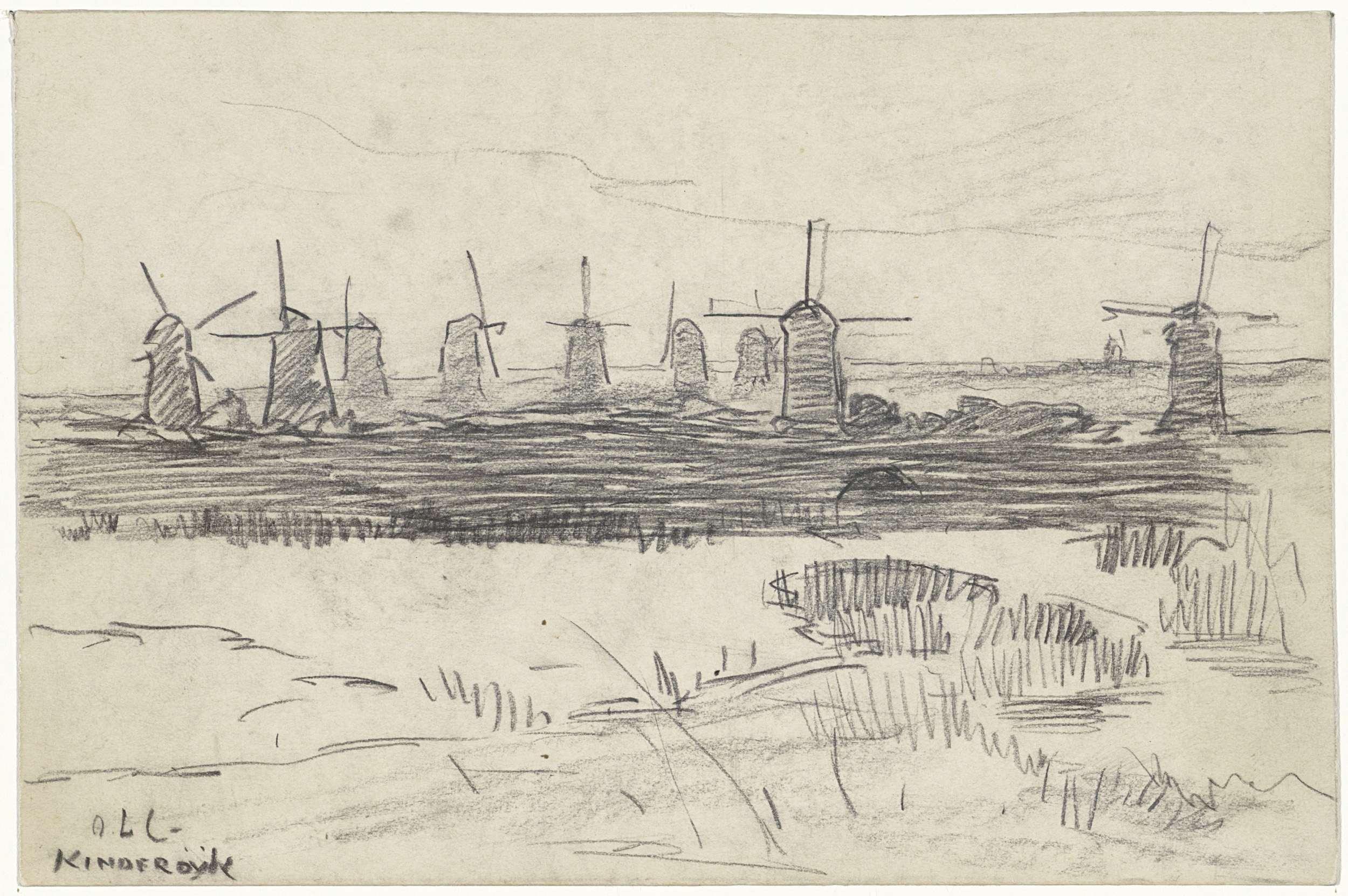 Adolf le Comte, Windmolens bij Kinderdijk, 1860 - 1921, tekening, Rijksmuseum
